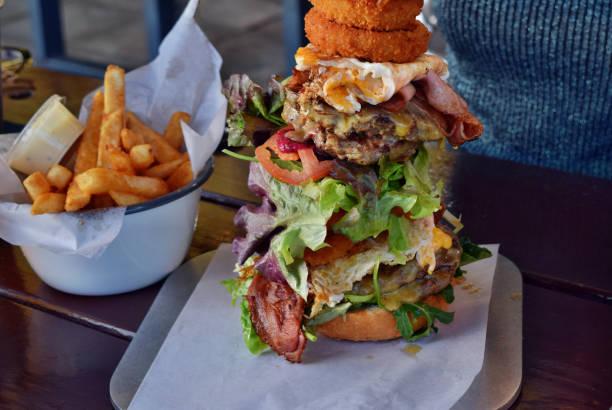 Very big unhealthy Australian hamburger stock photo
