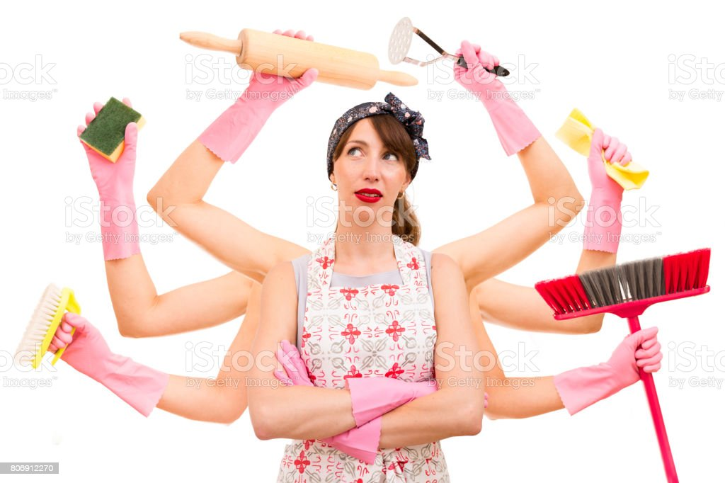 Very busy multitasking housewife on white background. Concept of supermom and superwoman stock photo