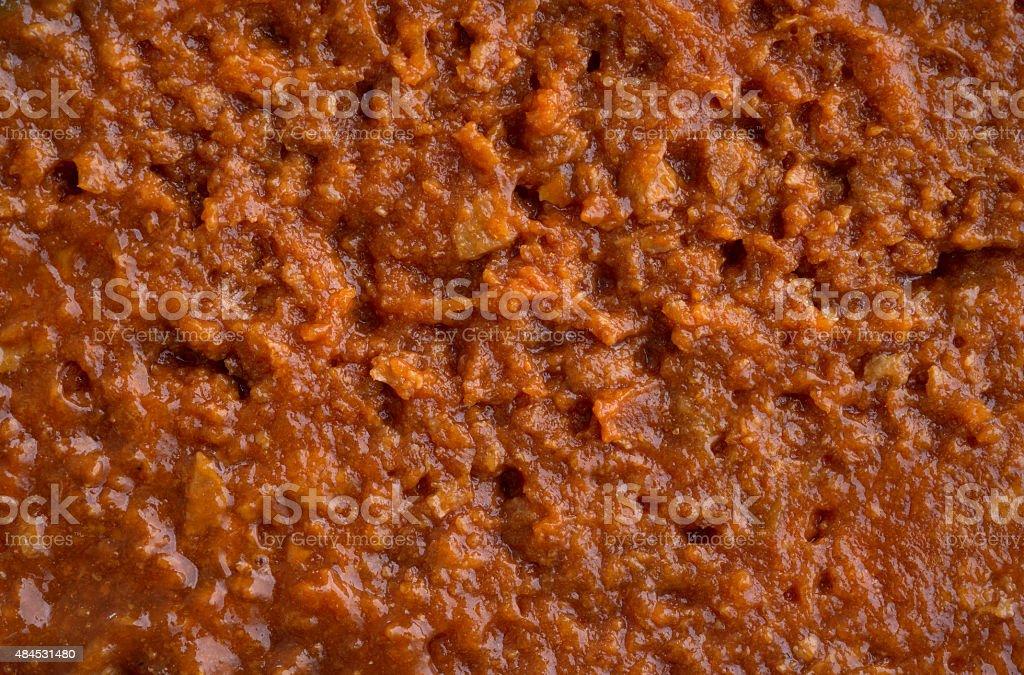 Very close view of sloppy joe mix stock photo