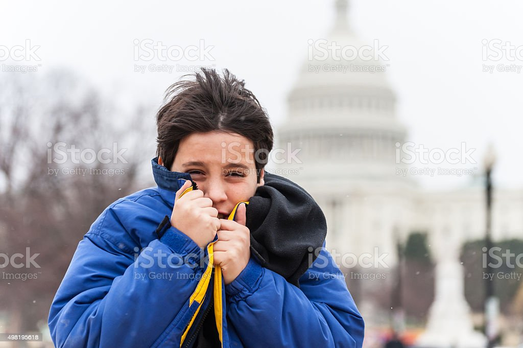 very cold in Washington DC stock photo