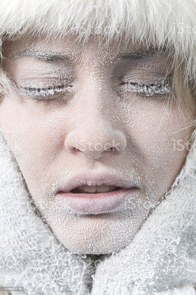 Very cold weather. Chilled female face covered in ice. stock photo