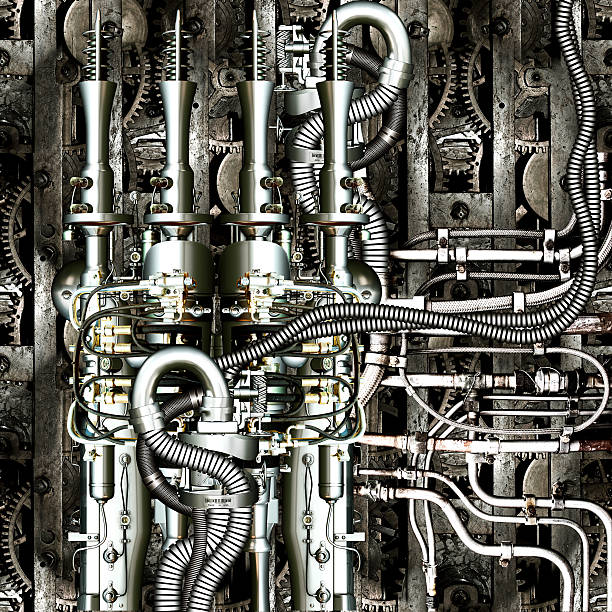 A very complex and intricate piece of machinery  stock photo