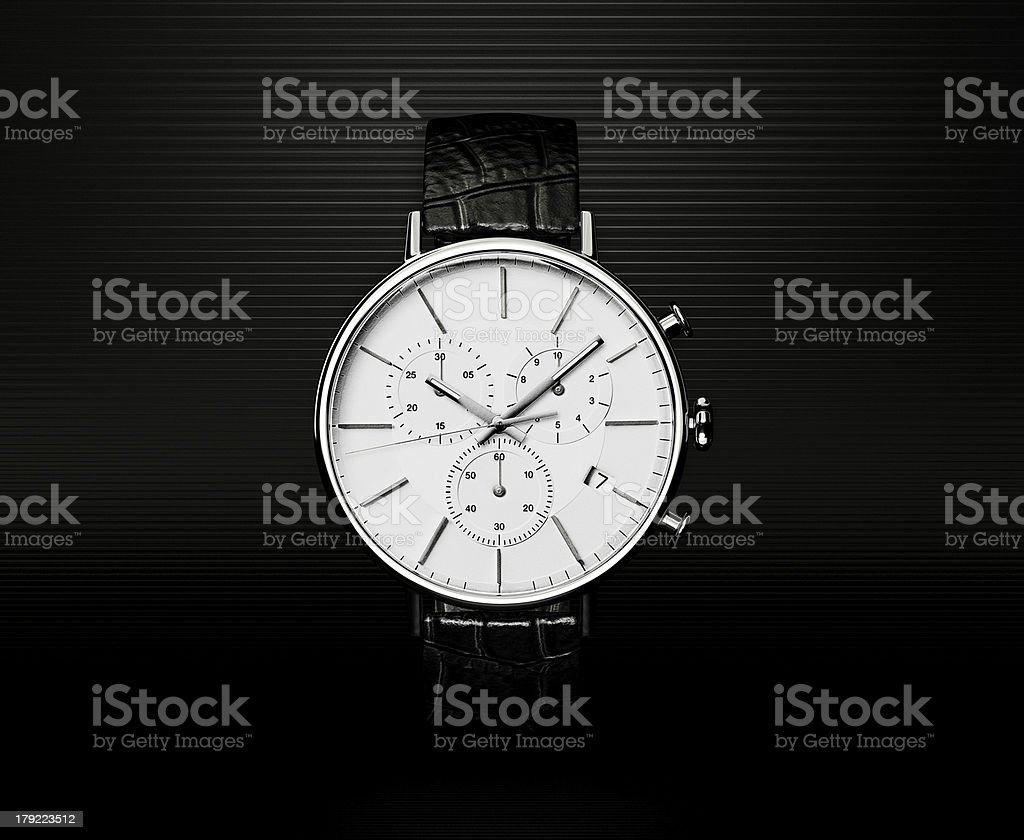 Very cool watch with a metal finish stock photo