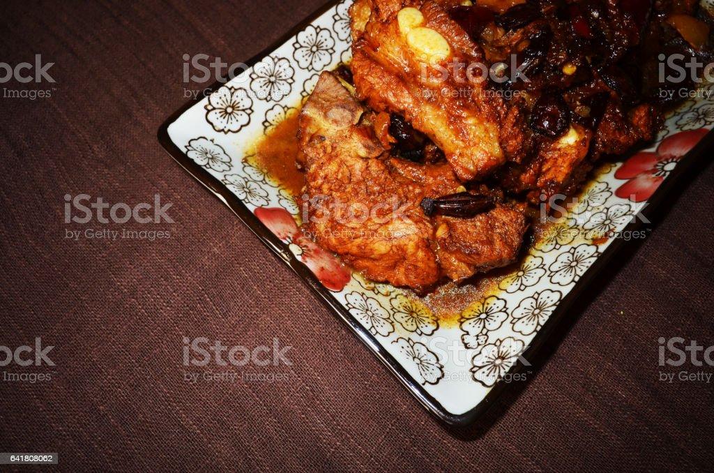 Very delicious braised pork ribs stock photo