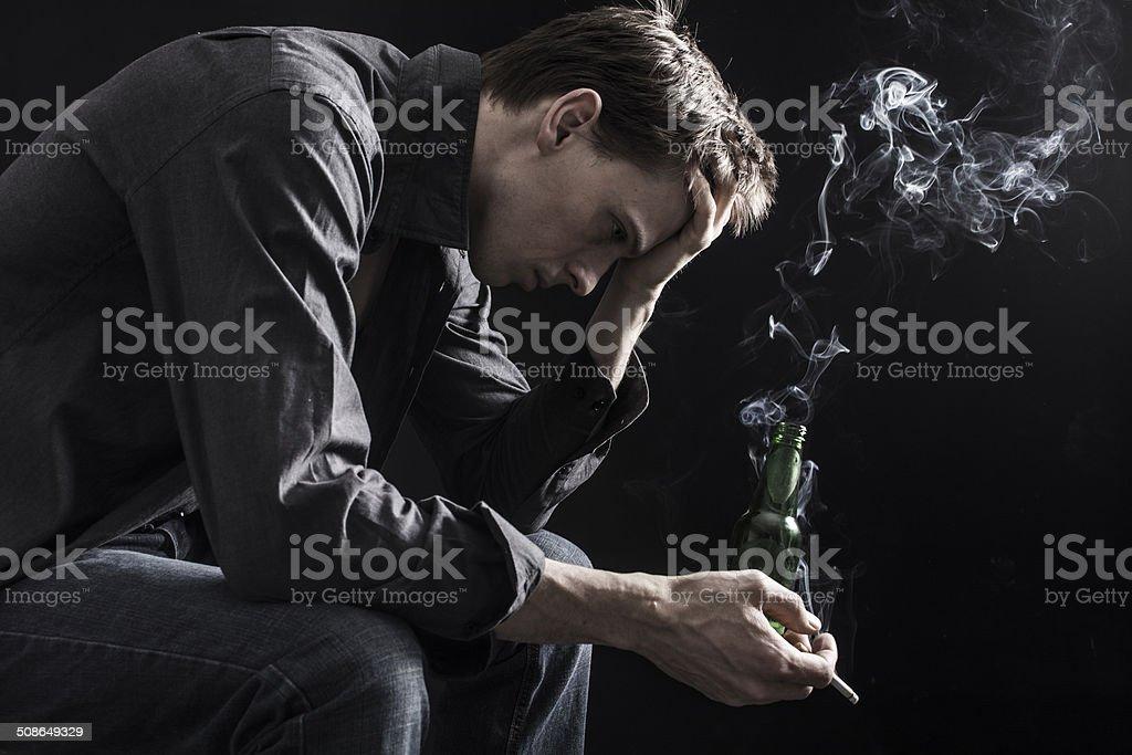 Very depressed man stock photo