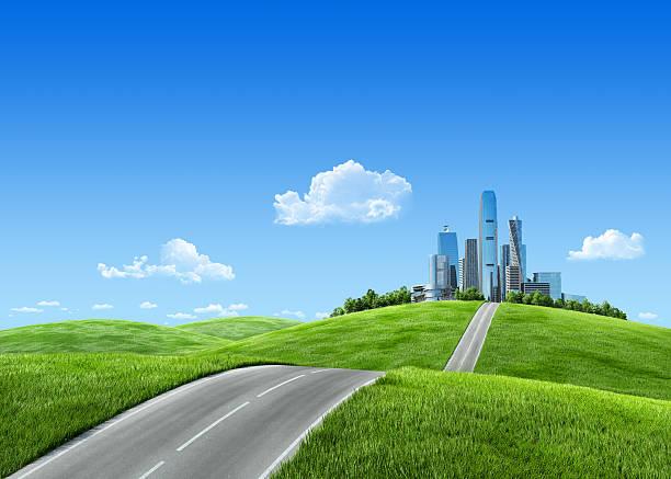 Very detailed 7000px city on suburban horizon stock photo