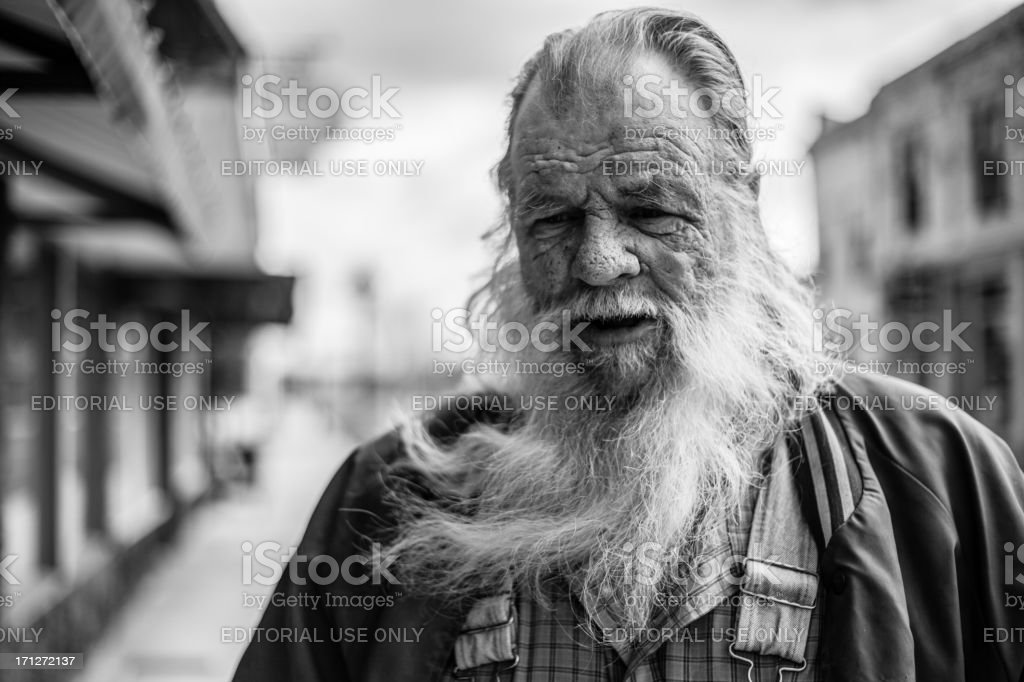 very detailed Close up of bearded Old vagrant Man royalty-free stock photo