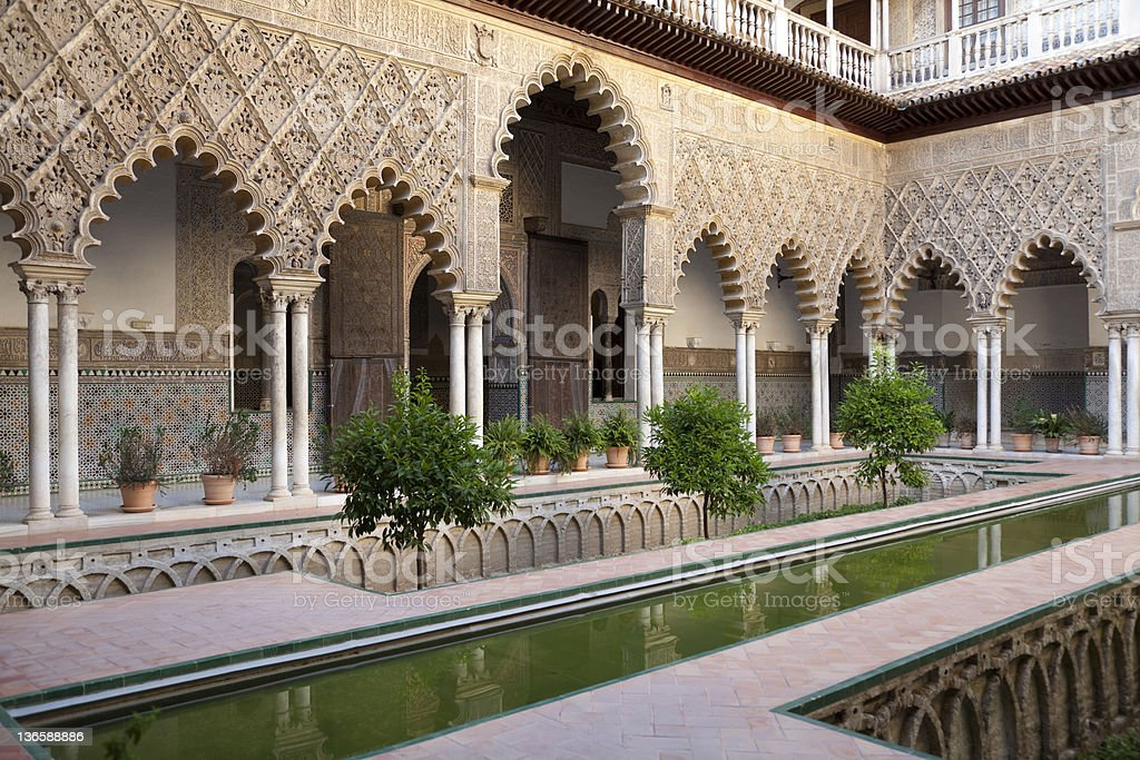 Very detailed Patio de las Doncellas, Real Alcazar, Seville stock photo
