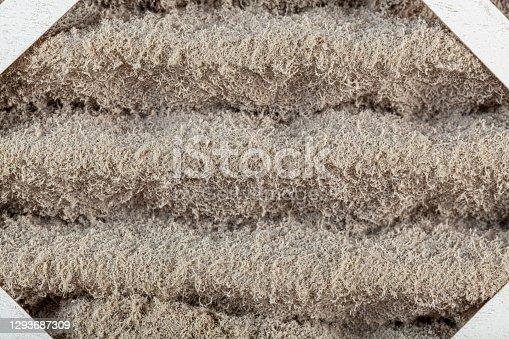 A heavily clogged furnace air filter. These filters are used to remove dust, allergens, microbes through circulation improving the quality of air especially for allergic individuals.