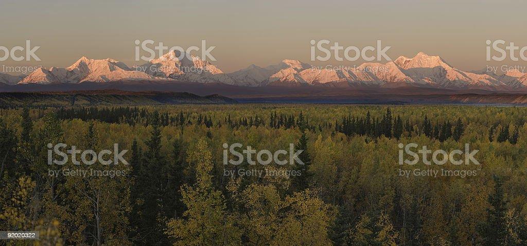 Very early morning mountain panorama stock photo