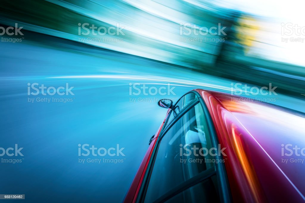 Very fast car in motion stock photo