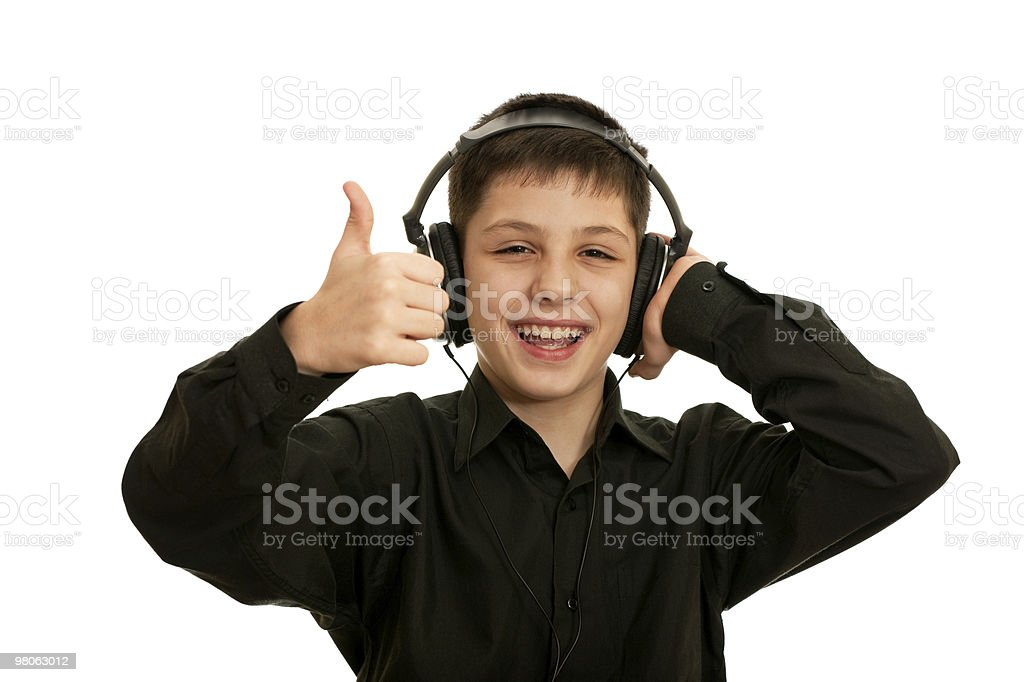 Very happy boy with headphones royalty-free stock photo