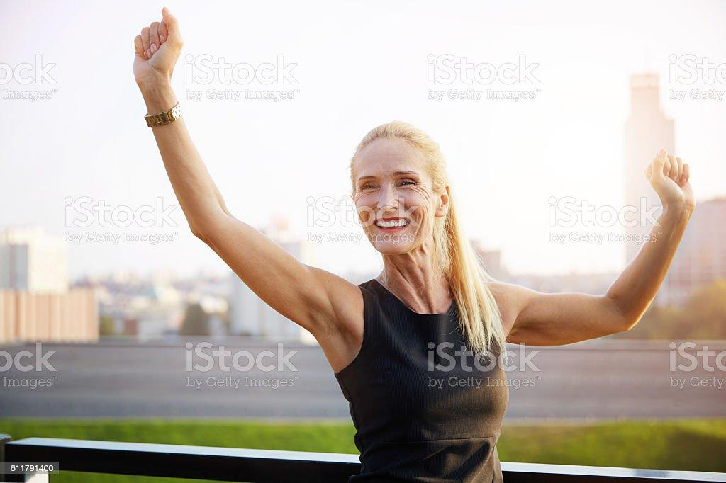 Very happy businesswoman stock photo