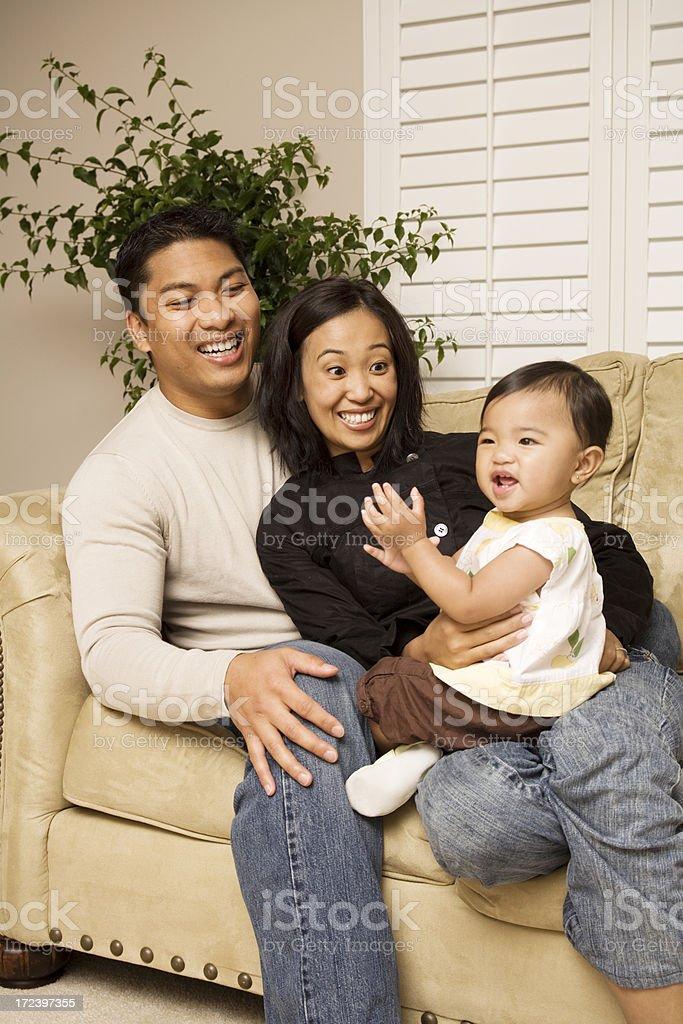 Very Happy Family of three stock photo