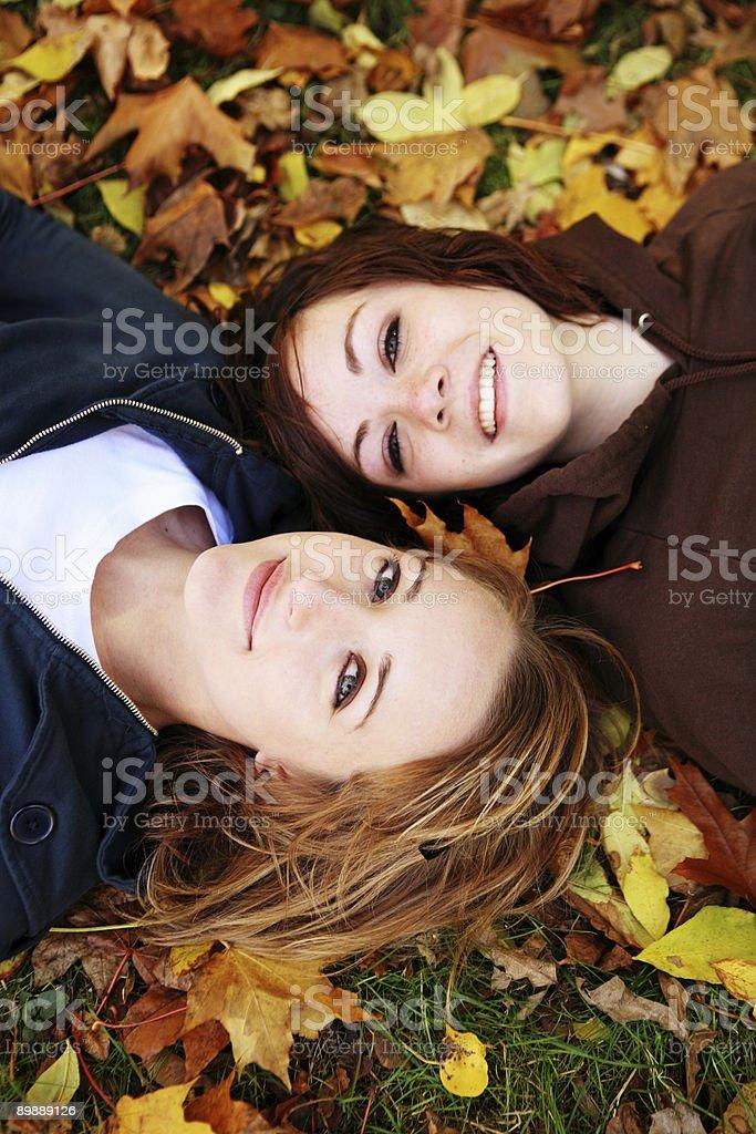Sehr glückliche Freunde verbringen in the Park Lizenzfreies stock-foto
