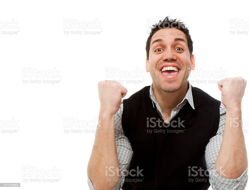 A very happy man on a white background stock photo