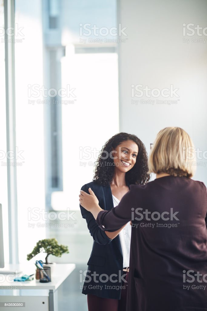 Very happy to be working with you stock photo
