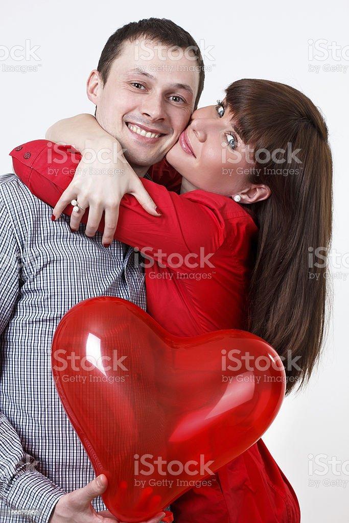 Very Happy Valentine couple with baloons hearts royalty-free stock photo