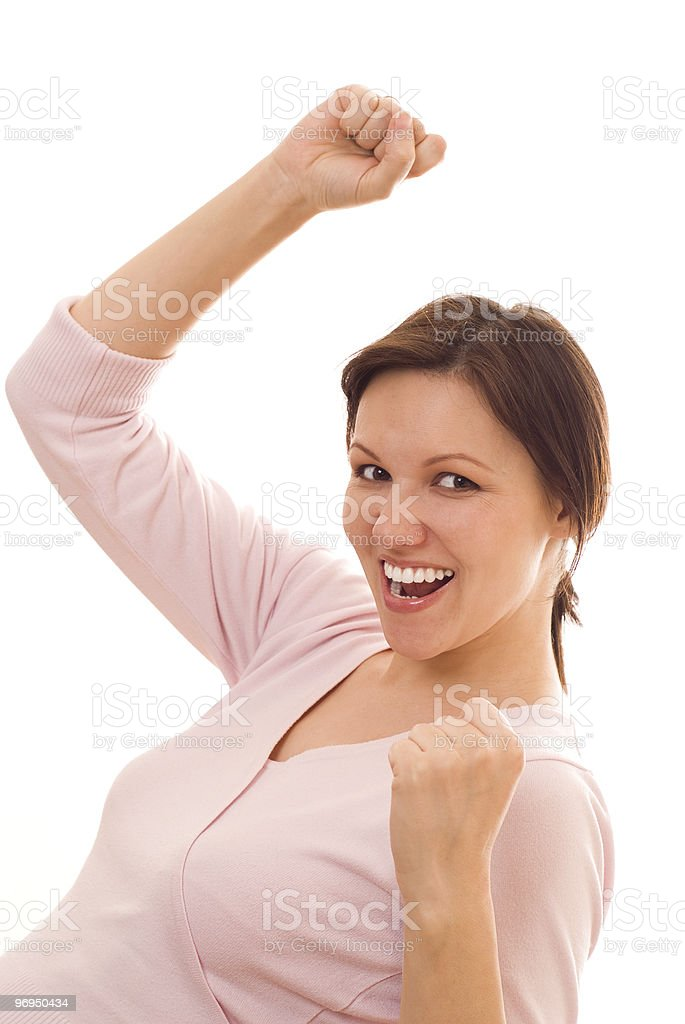 very happy woman  on a white background royalty-free stock photo