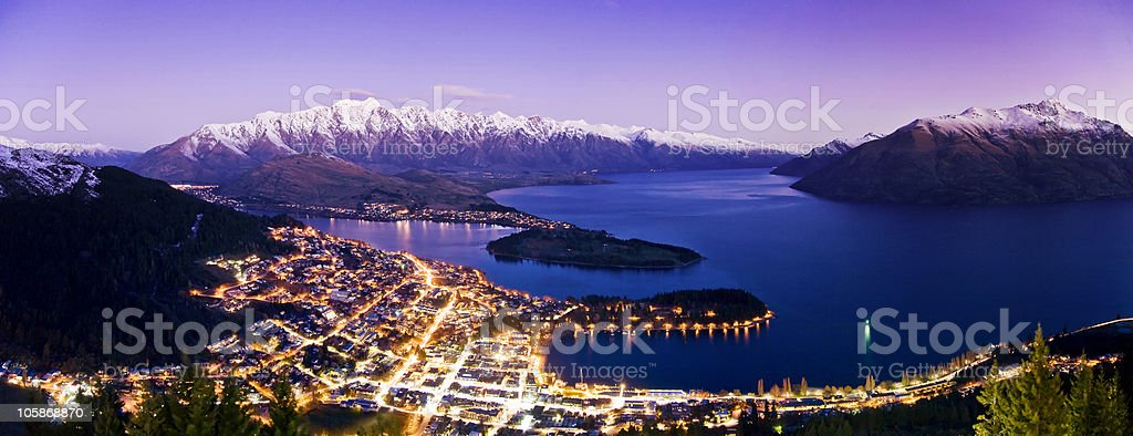 Very High Res Panorama of Queenstown at Night stock photo
