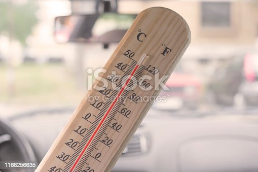 Thermometer with close to one hundred and twenty degree Fahrenheit or fifty degree Celsius temperature inside of closed parked car on very hot summer day