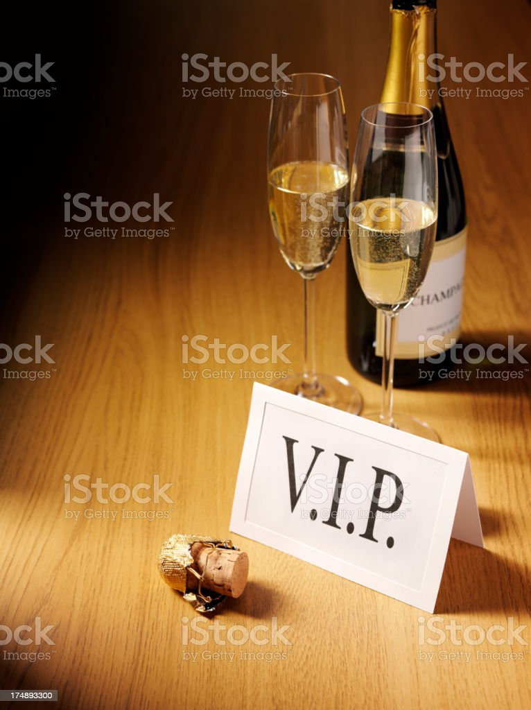 Very Important Person Card with Champagne royalty-free stock photo