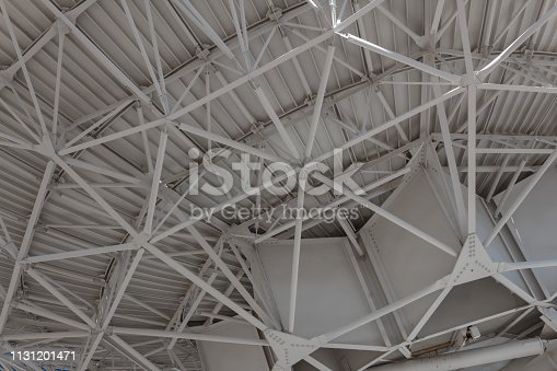 Very Large Array engineered structure supporting a large dish with trusses, horizontal aspect