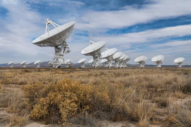 Very Large Array on the plains of the San Agustin desert stock photo