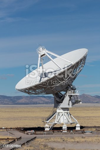 Very Large Array radio astronomy observatory dish, engineering science technology, copy space, vertical aspect