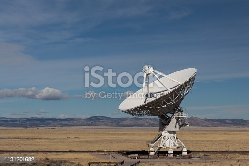 Very Large Array radio astronomy observatory dish in the New Mexico desert, technology and science, copy space, horizontal aspect