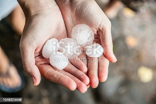 very large hail in the hands