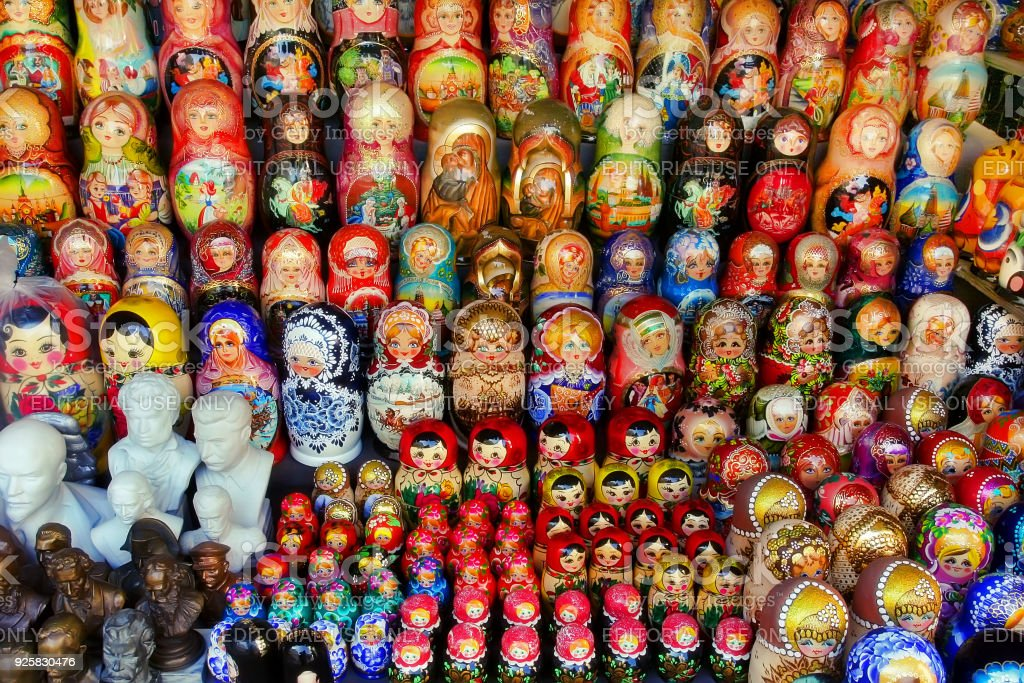 Very large selection of matryoshkas and other Russian souvenirs at the gift shop on September 19, 2017 in Moscow on Red Square. Nesting dolls are the most popular souvenirs from Russia. MOSCOW -September 19, 2017: Very large stock photo