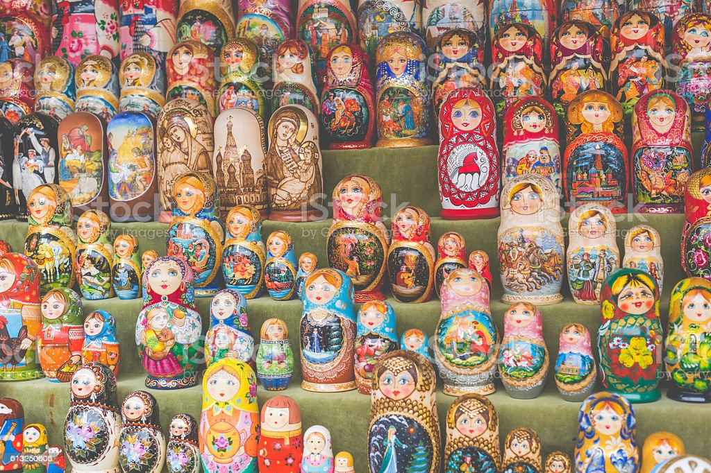 Very large selection of matryoshkas Russian souvenirs in Moscow. stock photo