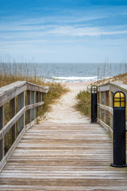A very long boardwalk surrounded by shrubs in Amelia Island, Florida stock photo