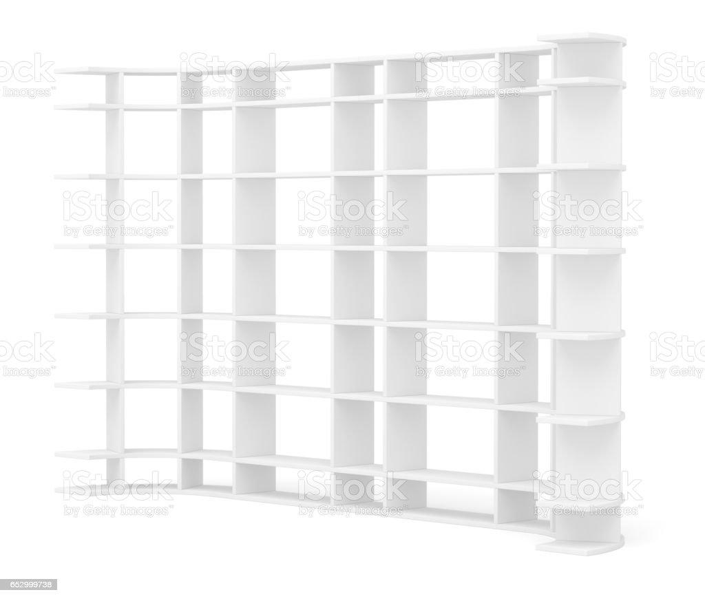 Very long supermarket shelf stock photo