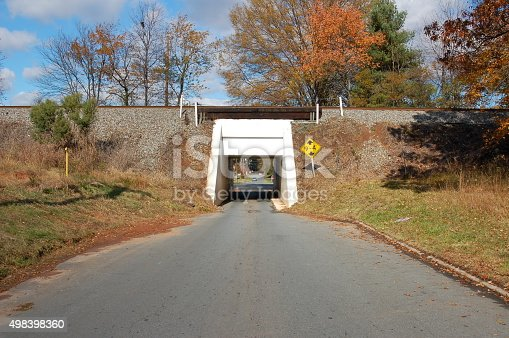 Very narrow railroad underpass large enough for one vehicle.  The road narrows to the size of the opening.