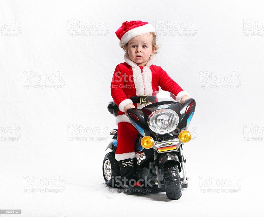 very nice Santa Claus on motorcycle stock photo