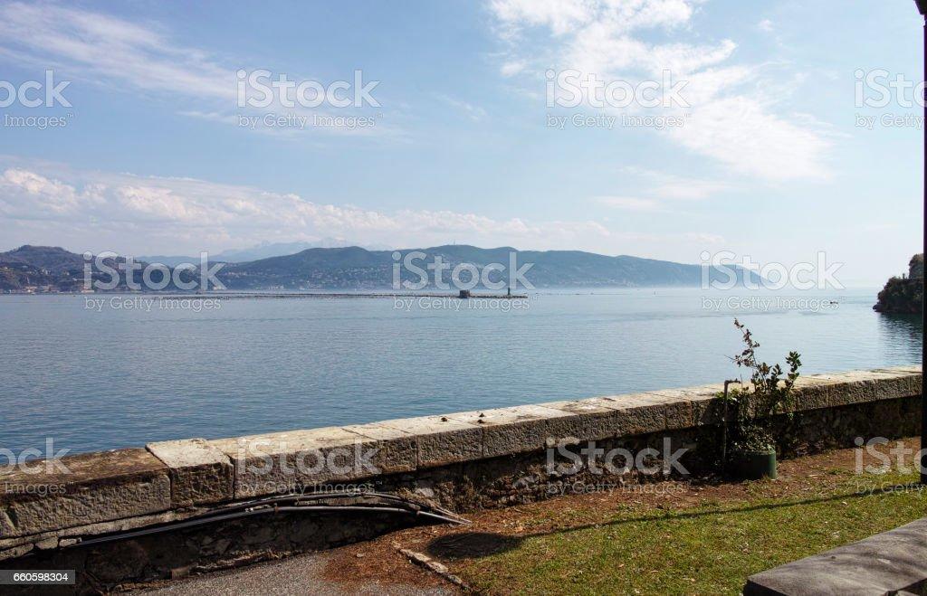 very nice view of la speiza gulf from varignano military base royalty-free stock photo