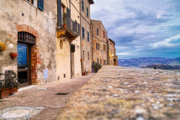 very nice view of pienza a medieval village in val d orcia very nice view of pienza a medieval village in val d orcia,italy pienza stock pictures, royalty-free photos & images