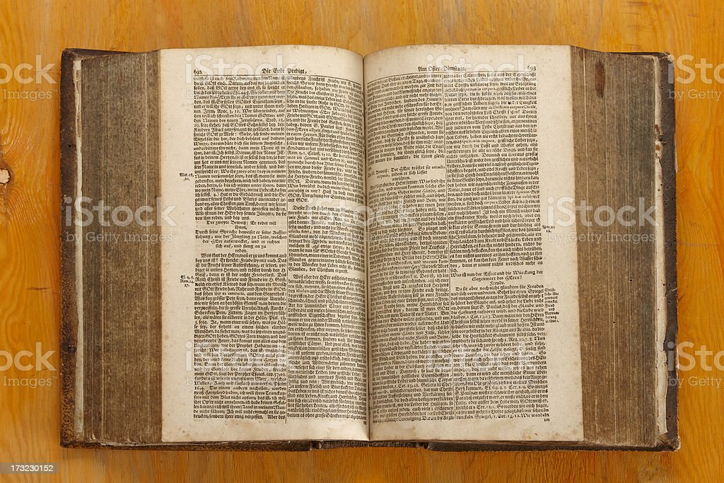 Very old book from 1768 stock photo
