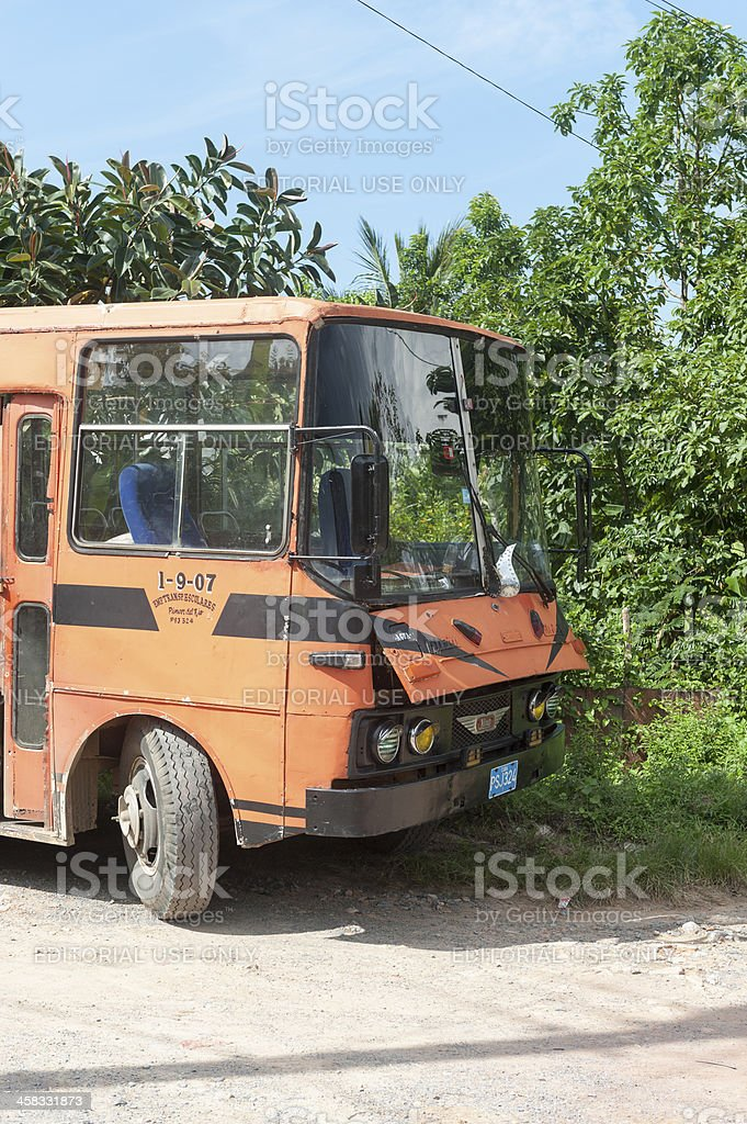 very old bus parked in vinales, cuba royalty-free stock photo