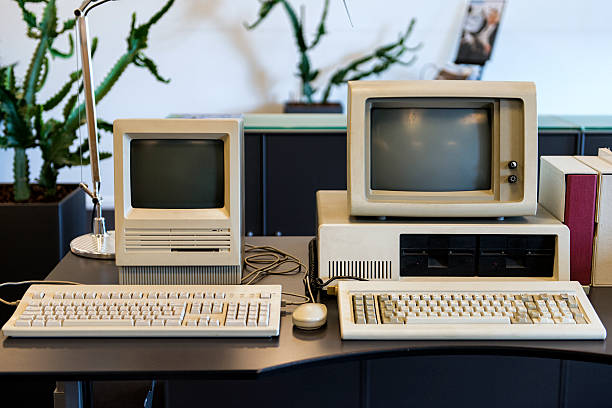 very old computers on an office desk - mainframe stock pictures, royalty-free photos & images
