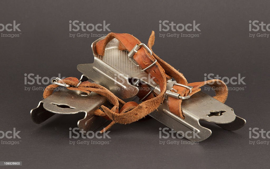 Very old dutch ice skates for a small child royalty-free stock photo