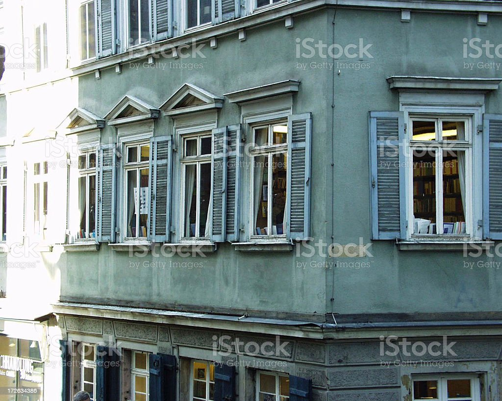 Very old facade of a bookstore in Tübingen royalty-free stock photo