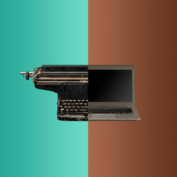 very old fashion typewriter and laptop - new stock photos and pictures