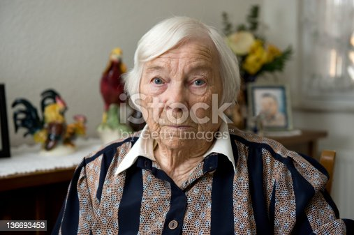 istock Very old female senior is alone at home 136693453