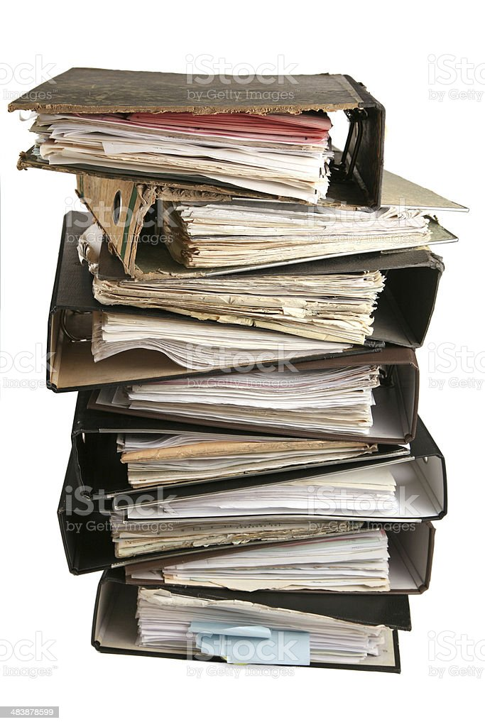 Very old files stock photo