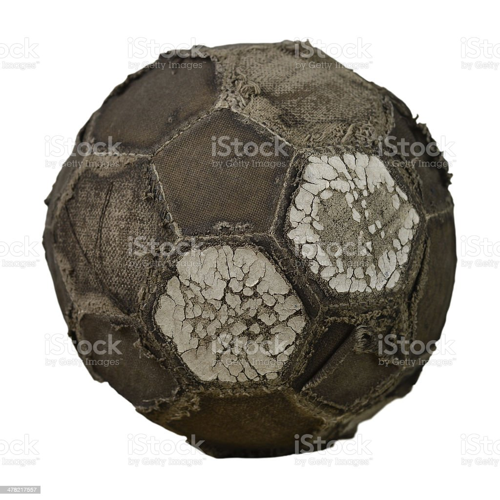 XXL - Very old football - isolated over white stock photo