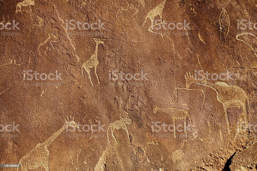 Very old graffitis from Twyfelfontein royalty-free stock photo