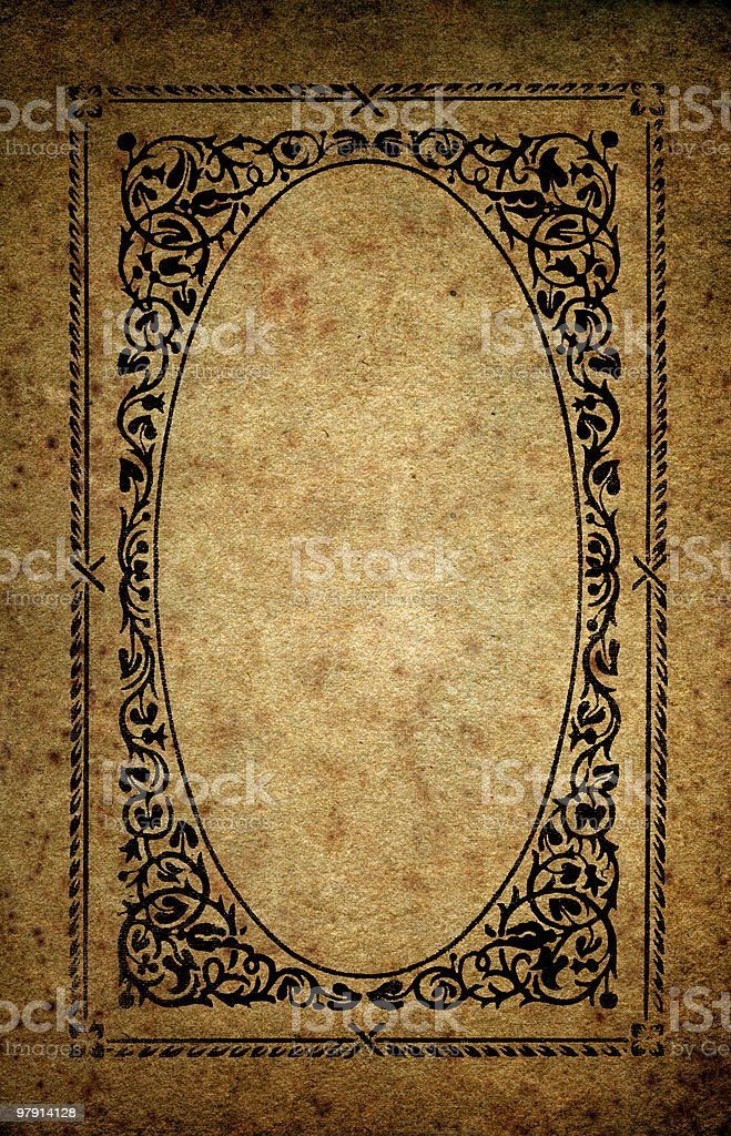 very old grungy framed paper background royalty-free stock photo